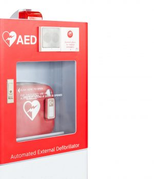 AED box or Automated External Defibrillator medical first aid device isolated on white background